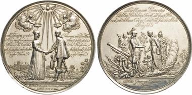 Los 649: Niederlande. Wilhelm II. von Nassau-Oranien. Großes Silbermedaillon 1641 (v. Joh. Blum) auf seine Vermählung mit Prinzessin Mary von England. Van Loon II, S. 251.1. Domanig (1907) 667.