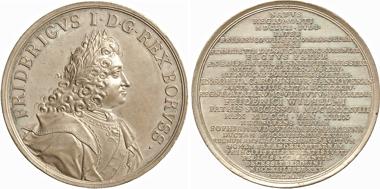 Los 1024: Preußen. Friedrich III. Zinnmedaille 1713 (v. Chr. Wermuth) auf den Tod des Königs und seinen Beisetzung im Dom. Wohlfahrt 13005. Gütther S. 481/482.