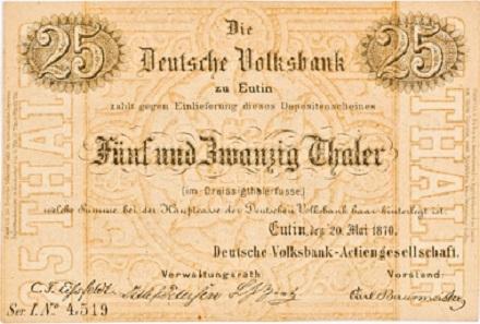 Los 2503: Eutin. Deutsche Volksbank AG. Depositenschein über 25 Thaler, Eutin, den 20. Mai 1870. Serie I No. 4,519. 4 Faksimili-Unterschriften. Keller XI, 44. Pick/Rixen A200.