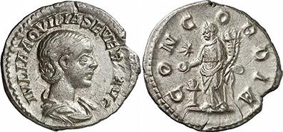 AQVILIA SEVERA. Denar. Ex Gorny & Mosch 191 n. 2234. 2,31 g.