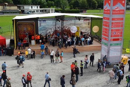 Der Stand der Swissmint in Pollegio in Zusammenarbeit mit der Schweizerischen Post. Foto: Swissmint.