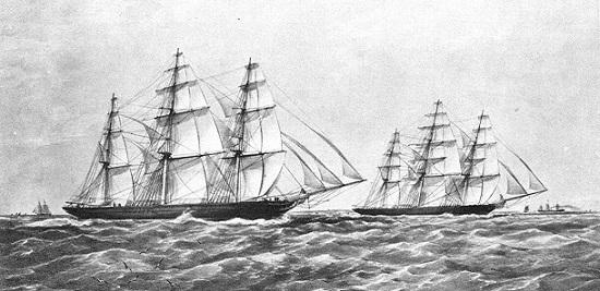 Zieleinlauf der Schiffe