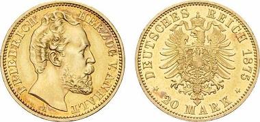 Deutsches Reich / Anhalt. 20 Mark 1875-A.
