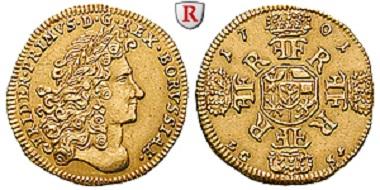 Brandenburg-Preußen. Friedrich I., Dukat 1701, Berlin. Sehr selten. Fast vorzüglich. 15.000 Euro.