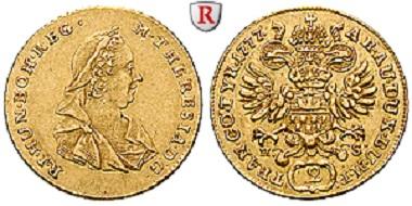 Römisch-Deutsches Reich. Maria Theresia. Doppeldukat 1777, Karlsburg. Sehr schön bis vorzüglich. 1.950 Euro.