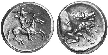 Gela. Didrachm, 490/85-478/77. Rider. Rv. protome of a river deity r. Ex Künker Auction 94 (2004), 268.