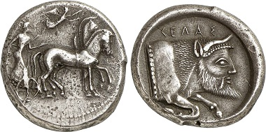 Gela. Tetradrachm, 480/75-475/70. Quadriga r., Nike flying from left to crown the horses. Rv. protome of a river deity r. Ex Gorny & Mosch Auction 224 (2014), 48.