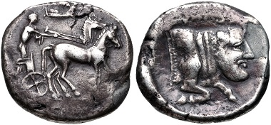Lot 9: Sicily, Gela. Circa 440-420 BC. Tetradrachm. Jenkins, Gela, Group V, 374 (O75/R151); HGC 2, 345. Very fine, toned, fields smoothed, one area restored. From the Colin E. Pitchfork Collection. Estimate: $200.