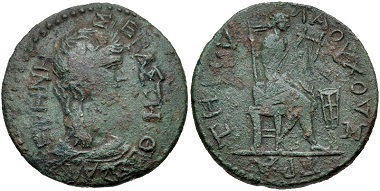Lot 214: Thessaly, Koinon of Thessaly. temp. Nero. Triassarion. Struck AD 66/7-67/8. Burrer Em. 2, - (unlisted dies, though cf. R45 for a similar type); BCD Thessaly I -. Near very fine, green patina. Extremely rare. From the BCD Collection. Estimate: $75.