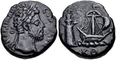 Lot 285: Egypt, Alexandria. Commodus. Tetradrachm, Dated RY 29 of Marcus Aurelius (AD 188/9). Köln 2242-3; Dattari (Savio) 3903. Very fine, dark gray-brown surfaces, some minor porosity. From the Hermanubis Collection. Estimate: $300.