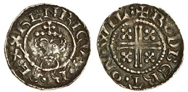 Lot 454: Henry II (1154-1189), 'short cross' coinage, 1180-89, penny, Wilton. N. 962; S. 1343; Stewartby Ia2. Darkly toned with slightly pitted surfaces, almost very fine, very rare. Estimate: £350-450.