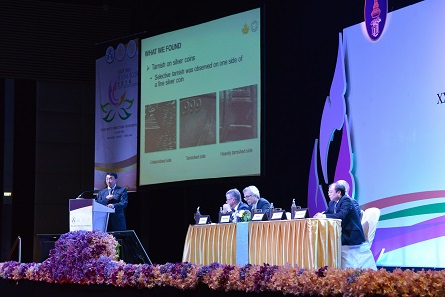 Dr Xianyao talks about how unpleasant discolorations on modern coins can be prevented. Photograph: Mint of Thailand.