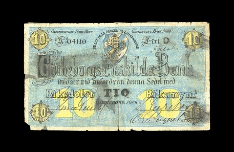 Hand drawn counterfeit Swedish banknote, Sweden, 1868 © Trustees of the British Museum.