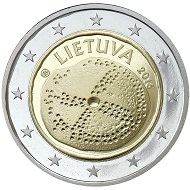 Lithuania / 2 Euros / CuNi/CuZnn / 27.75mm / 8.50g / Design: Jolanta  Mikulskyte and Giedrius Paulauskis (national side), Luc Luycx (common side) / Mintage: 1,000,000.