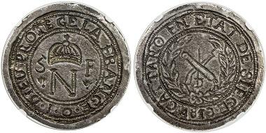 Lot 2164: Cattaro: Napoleon I, 1805-1814, cast silver 5 francs. Estimated Value $3,000-3,500. Realized $7,500.