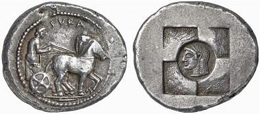 Syracuse. Tetradrachm, 510-500. Quadriga r. Rv. deepened head of Arethusa in windmill-shaped incuse. Ex Künker Auction 111 (2006), 6084.