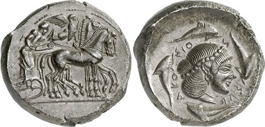 Syracuse. Tetradrachm, 485-466. Quadriga r., flying Nike from right to crown the chariot. Rv. head of Arethusa r. Ex Gorny & Mosch Auction 195 (2011), 58.