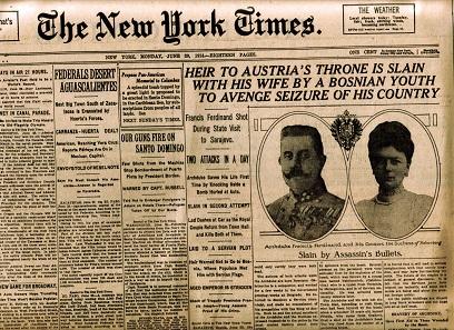 Schlagzeile der New York Times vom 29. Juni 1914.