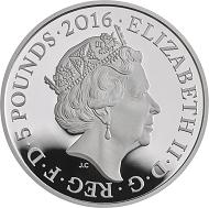 Great Britain / £5 / .925 silver / 28.28g / 38.61mm / Design: Jody Clark (obverse), John Bergdahl (reverse) / Mintage: 4,000.