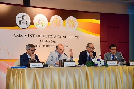 The attendees of the session, from left to right: Christoph Beaux, Edward Meir, Albert Cheng, and Mark Valek. Photograph: Mint of Thailand.
