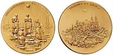 Goldmedaille 1964 von Elmar Hillebrand zur 800-Jahrfeier der Überführung der Reliquien der Heiligen Drei Könige von Mailand nach Köln. Aus Auktion Numismatik Lanz 124 (30. Mai 2005) Nr. 1720.