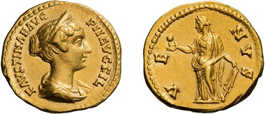 Lot 9: Faustina II, aureus. Starting price: 15,000 USD.