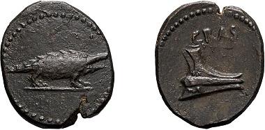Lot 357: Crassus, 30s BC, Cnossus of Crete, AE. Starting price: 2,800 USD.