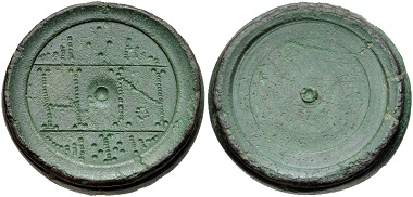 Lot 532: BYZANTINE, Coin Weights. 6th-7th centuries AD. AE Eight Nomismata Weight. Cf. Bendall, Weights, 137-8 (for type); cf. Geneva 143 (same). VF, green surfaces. Estimate: $100.