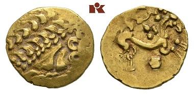 Los 3: Kelten. Gallien. El-Stater, 2. Jahrhundert v. Chr. Delestrée/Tache 58. sehr schön. Schätzpreis: 750 Euro.