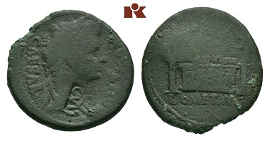 Lot 146: Augustus. AE-As, 8/3 BC., Lugdunum. BMC 550; RIC2 230. Green patina, scarcely preserved, countermark nearly very fine. Estimate: 500 Euro.