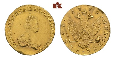 Lot 608: Catherine II., 1762-1796. Ruble 1779, St Petersburg. Bitkin 115 (R); Diakov 388; Fb. 135. GOLD. small traces of treatment, very fine. Estimate: 400 Euro.