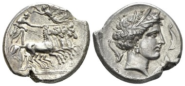 The Carthaginians in Sicily and North Africa, Lilybaion, Tetradrachm, circa 305-305, AR. Jameson 957 (same dies). Extremely Fine. £800.