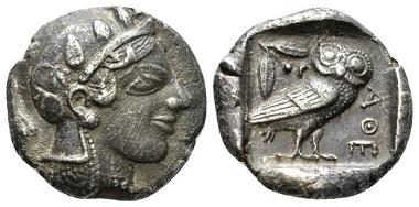 Attica, Athens, Tetradrachm, circa 455, AR. Svoronos pl. X, 8. Delepierre 1426. Old cabinet tone. Good Very Fine. £200.
