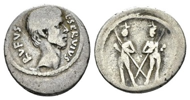 Servius Rufus. Denarius, circa 43, AR. Sydenham 1082. Sear Imperators 324. Woytek, Arma et Nummi p. 558. RBW 1793. Crawford 515/2. From the E. E. Clain-Stefanelli collection. Very rare. About Very Fine. £170.