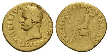 Vitellius, Aureus, Tarraco, January-April 69, AV. BMC 79. RIC 1. Very rare. About Very Fine. £1,200.