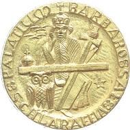 KAISERSLAUTERN. Stadt. Ansteckbares hohlgeprägtes vergoldetes Bronze-Abzeichen o.J. der Schlaraffia Nr. 278