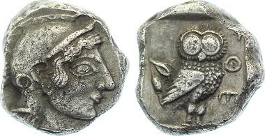 ATTIKA. Athen. Tetradrachme um 500-480 v.Chr. 17.10 g. Asyut Gruppe IVg; Seltman Gruppe Gii. Selten, fast vorzüglich. Bestell-Nr. A22 für 5.850 Euro.