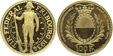 Schweiz. Bern. 100 Franken 1934 Schützenfest Freiburg. Auflage: 2.000 Ex. Fb. 505; Schl. 61; KM XS19. Fast Stempelglanz, Bestell-Nr. G262 für 2.950 Euro.