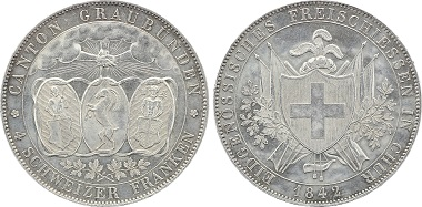 SCHWEIZ. SCHÜTZENTALER. 4 Franken 1842 Schützenfest in Chur. Auflage 6000. HMZ 1340. Vorzüglich+ für 1.100 Euro.
