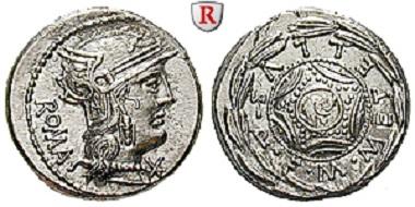 M. Caecilius Metellus. Denar 127 v. Chr. Stempelglanz. 580 Euro.