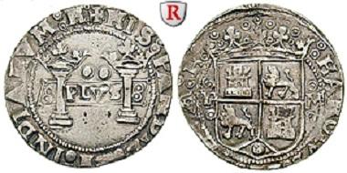 Spanien. Carlos I. und Johanna. Mexiko, 2 Reales o. J. (1538-1549). Sehr schön. Seltene Variante. 1.700 Euro.