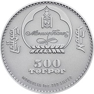 Mongolia / 500 Togrog / Silver .999 / 1 Ounce / 38,61mm / Mintage: 2500.