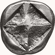 MACEDONIA. Unknown mint. Stater, 540-525 BC. Naked ithyphallic Satyr r. grabbing arm of Menad walking r. turning her head back to Satyr; in field one pellet. Rev. Incuse square diagonally divided. 9,91 grams. Svoronos, Hell. pl. 8, 4. SNG ANS 956 (same obv. die).