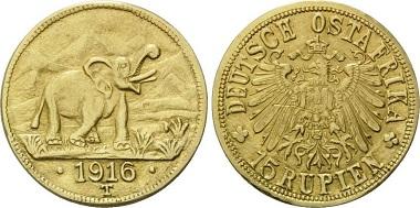 Deutsch Ostafrika, 15 Rupien, 1916 T.