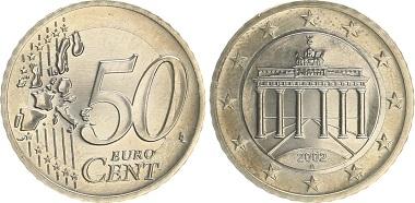 Bundesrepublik Deutschland, 50 Cent Probe, Fehlprägung, 2002 A.