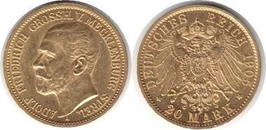 Mecklenburg-Strelitz, Adolf Friedrich V., 20 Mark, 1905.