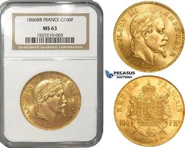 Frankreich, Napoleon III., 100 Francs, 1866.