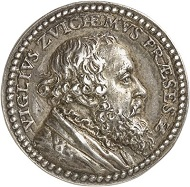 Lot 1006: BELGIUM. Small cast silver medal by J. Jonghelinck, on Dutch lawyer and ambassador of Charles V, Vigilius Ayta van Zuychem (1507-1577). Very rare. Extremely fine original cast. Estimate: 750 euros. Hammer price: 9,500 euros.