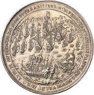 Lot 1422: Silver medal 1629, on the capture of the Spanish Silver Fleet by Dutch Admiral Piet Heyn in Matanzas Bay. Extremely rare. Almost extremely fine. Estimate: 2,500 euros. Hammer price: 20,000 euros.