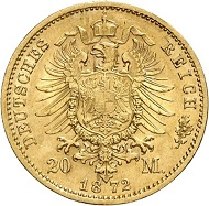 Lot 4073: GERMAN EMPIRE. Saxe-Coburg-Gotha. Ernest II, 1844-1893. 20 mark 1872. J. 270. Very rare. Good very fine. Estimate: 50,000 euros. Hammer price: 60,000 euros.